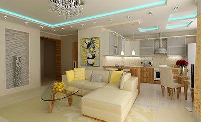 Дизайн кухонь с гостинной62