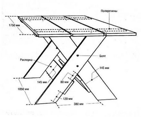 Стол со скамейками своими руками чертежи 55